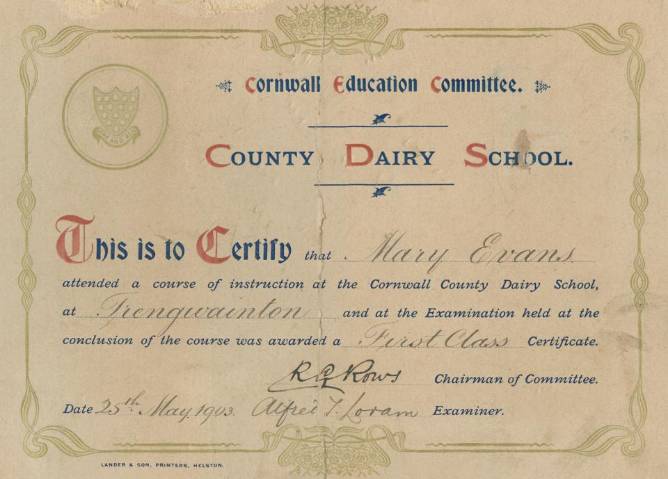 Mary Evans certificate